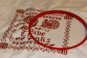 Progress on Give Thanks Cross Stitch