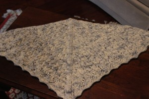 Mystery Shawlette knit but unblocked