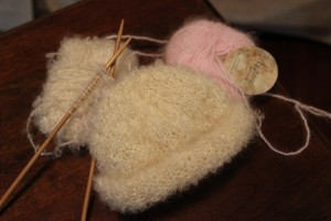 Rowan Yarns freebie, knit up in Sew Bee Boucle and Plymouth Yarns Angora.