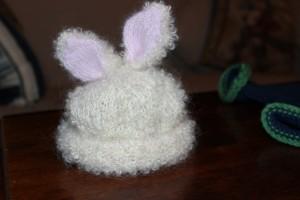 Rowan Yarns Bunny Hat in Be Sweet Mohair with Angora ears.