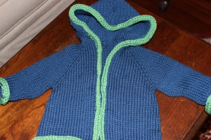 Hannah Jacket with I-cord bind off in Spud and Chloe Sweater Yarn.