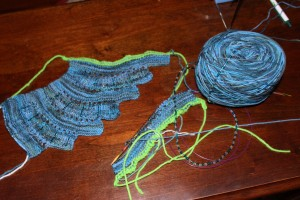 Laura Nelkin's Mystery Knit-Along using Space Cadet superwash fingering  weight merino wool, dark moana colorway and glass beads found on Ravelry.